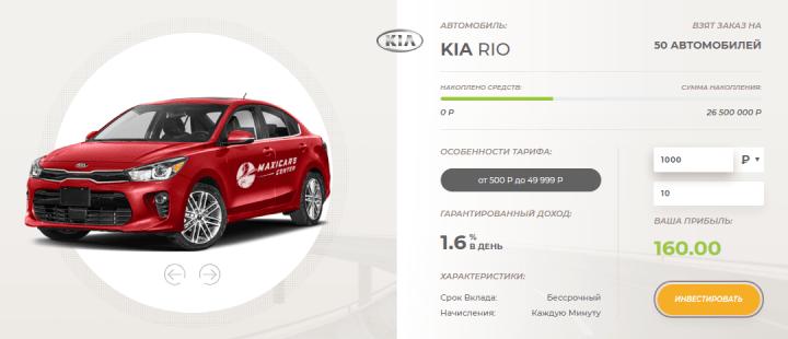 Инвестиционные планы проекта Maxicars