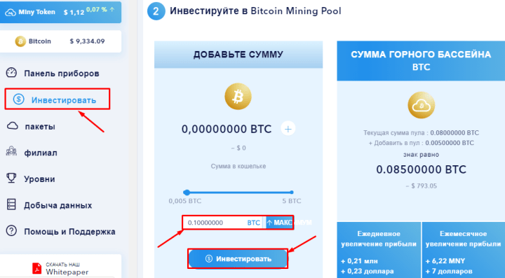Making a deposit in the Miny project