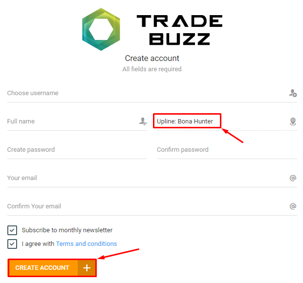 Registration in the Trade Buzz project