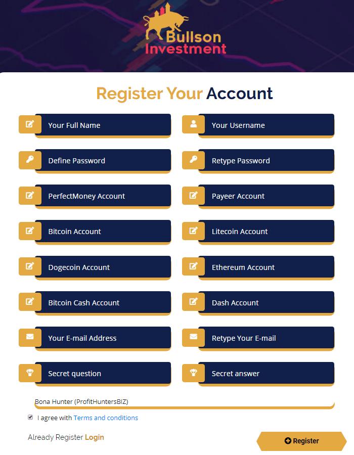 Регистрация в проекте Bullson Investment
