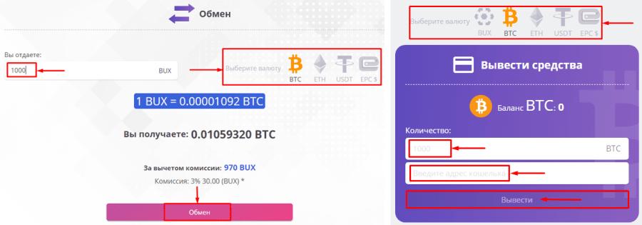 Вывод средств в проекте Buytex Network