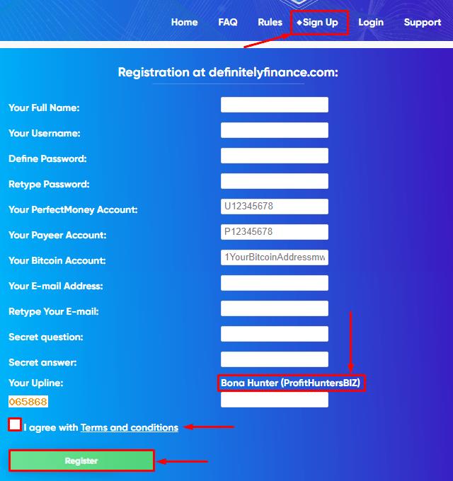 Registration in the Definitely Finance project