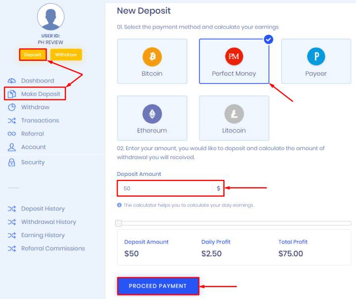 Making a deposit in the Doxera project