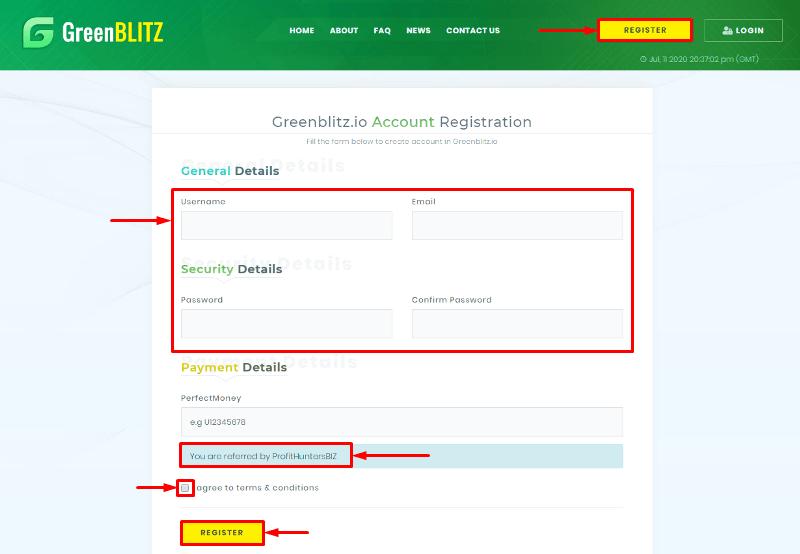 Регистрация в проекте Green Blitz