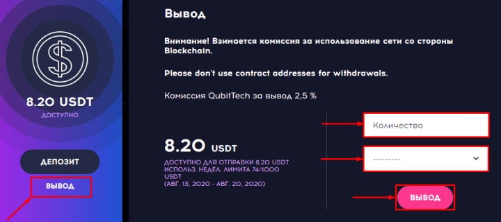 Withdrawal of funds in the QubitTech project