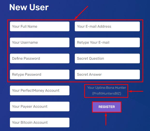 Регистрация в проекте Casho