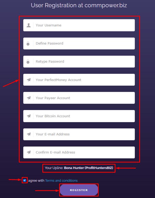 Регистрация в проекте Commpower