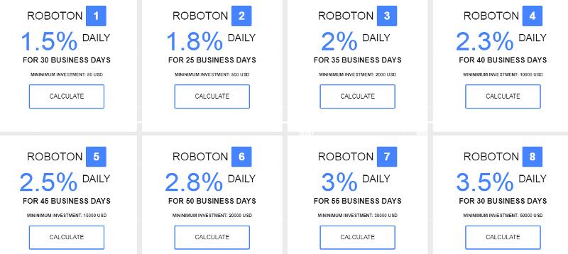 Инвестиционные планы проекта FX Roboton