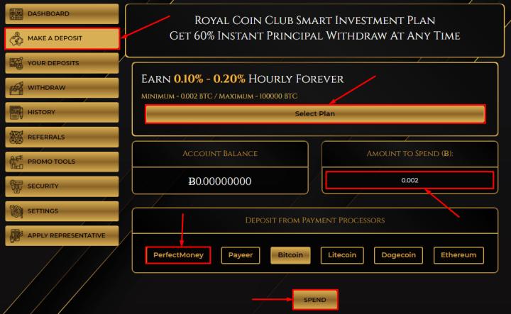 Создание депозита в проекте Royal Coin