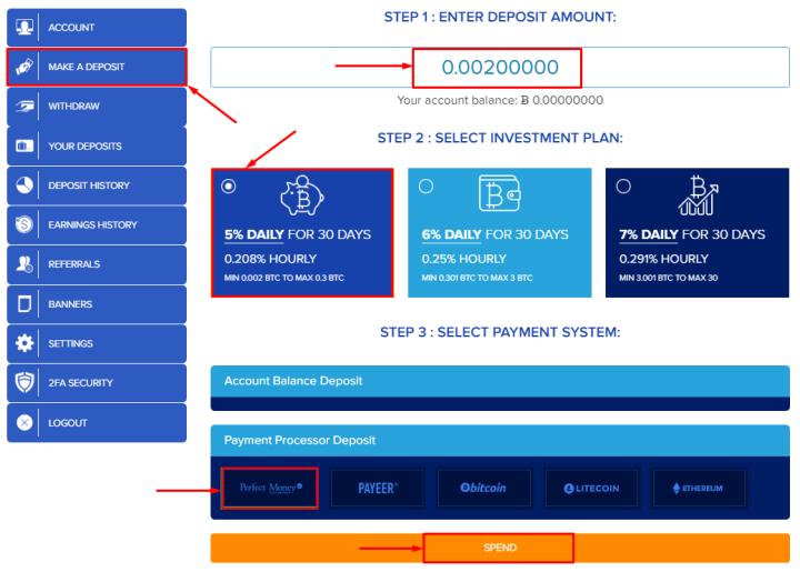 Создание депозита в проекте CloudBTC