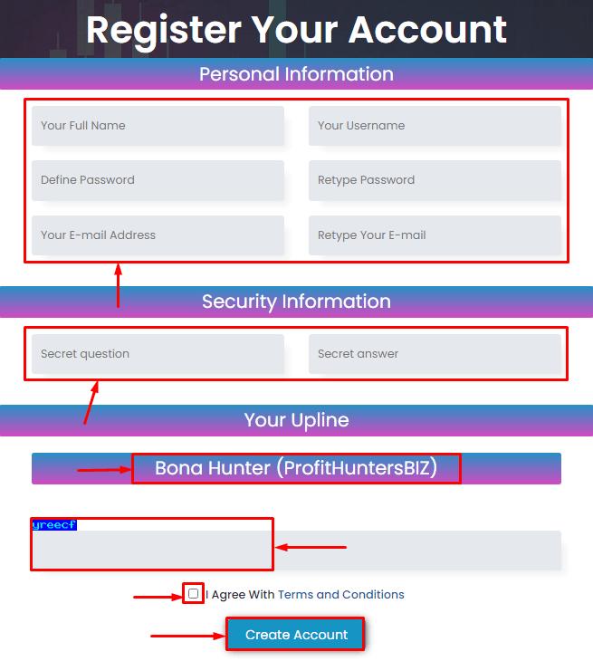 Регистрация в проекте Lory Holding