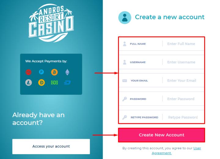 Регистрация в проекте Andros Casino