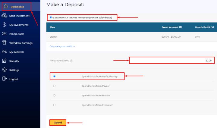 Создание депозита в проекте BTC Millionaire