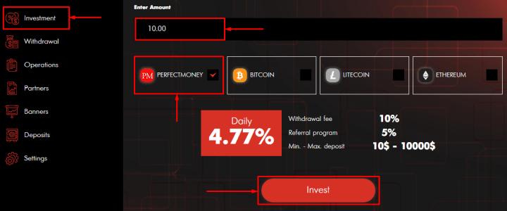 Создание депозита в проекте BTC Touch