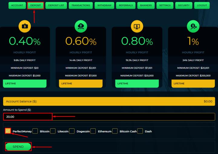 Создание депозита в проекте Smartcoin