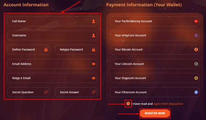 Регистрация в проекте Money Xplose