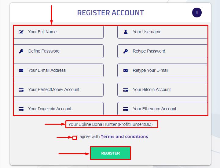 Регистрация в проекте Razorbits