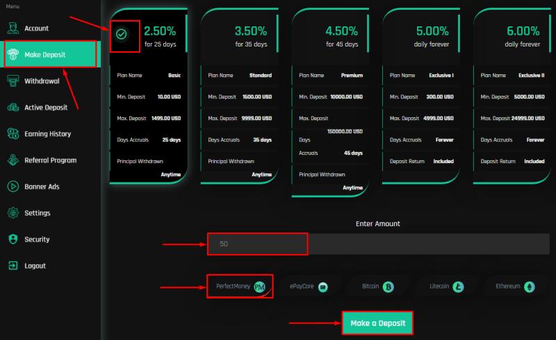 Создание депозита в проекте Robofex
