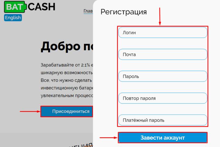 Регистрация в проекте Batcash