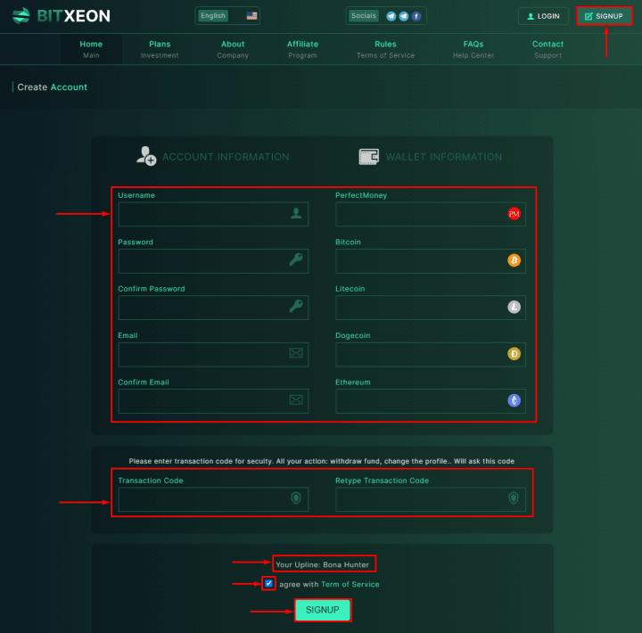 Регистрация в проекте BitXeon