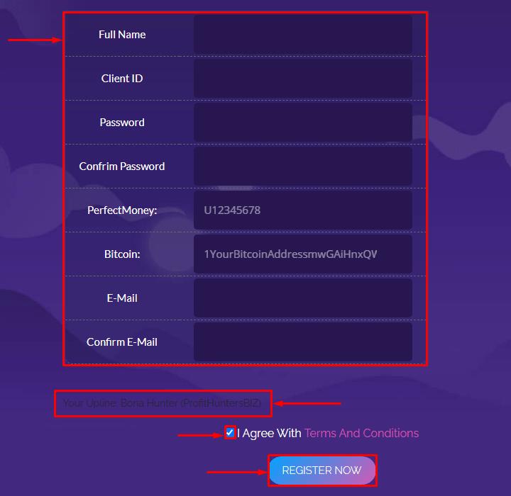 Регистрация в проекте Bomex