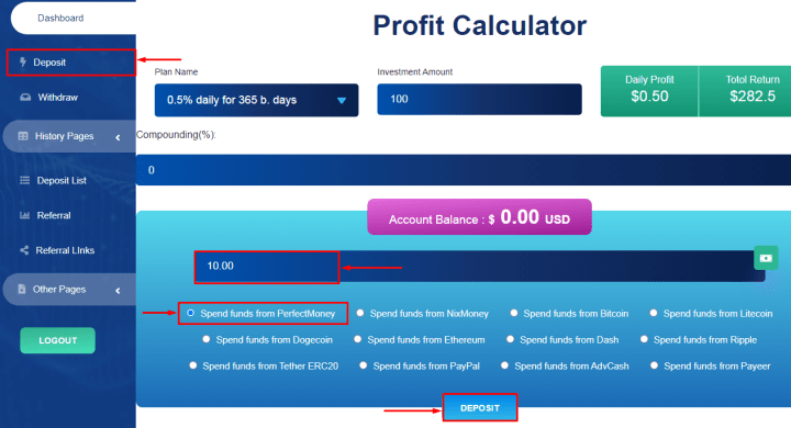 Creating a deposit in the Forex Profits project