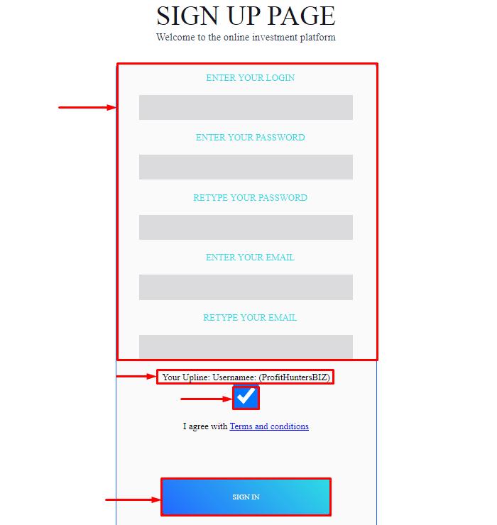 Регистрация в проекте Minero