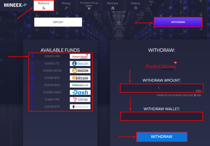 Withdraw funds in the Mineex project
