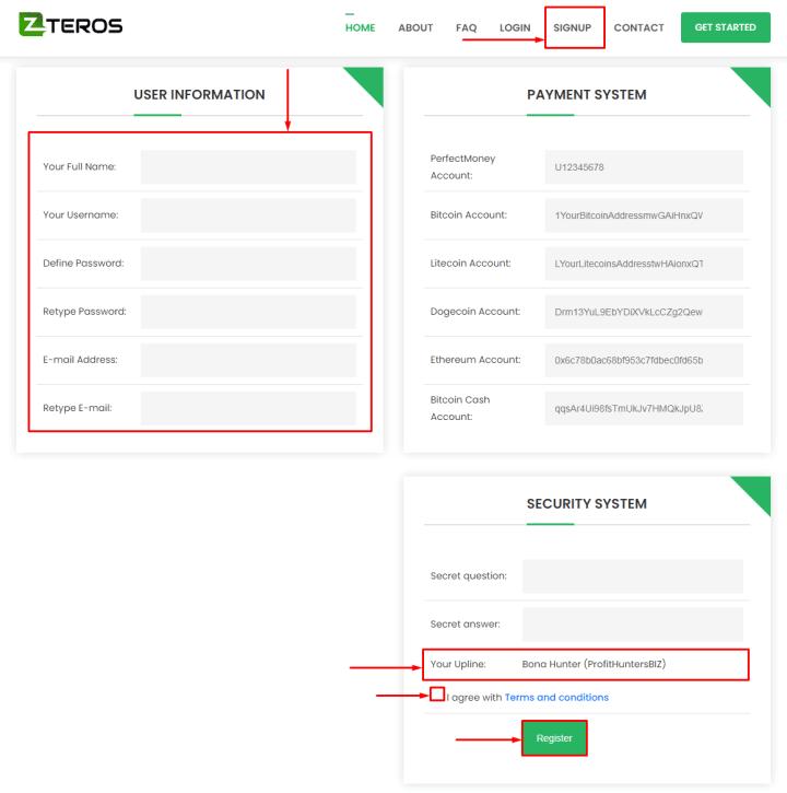 Регистрация в проекте Teros