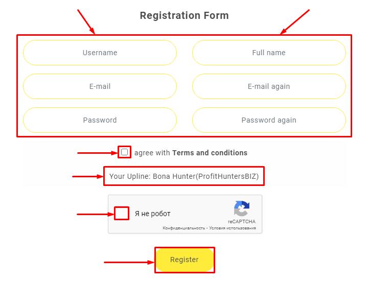 Регистрация в проекте Capital Arise
