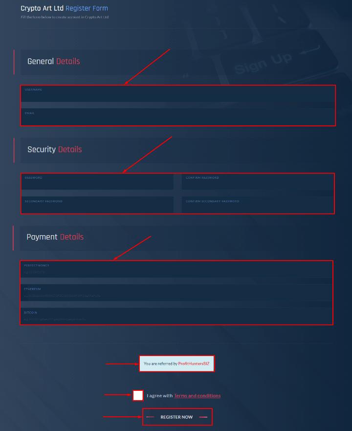Регистрация в проекте Crypto Art