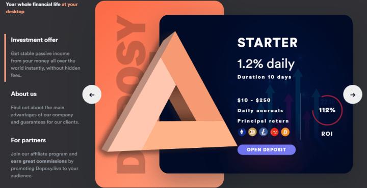 Инвестиционные планы проекта Deposy Live