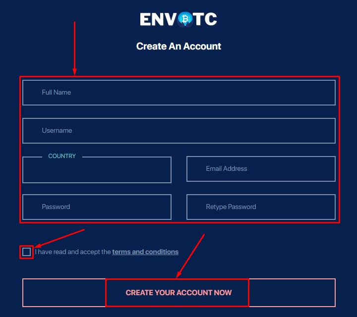 Регистрация в проекте Envbtc