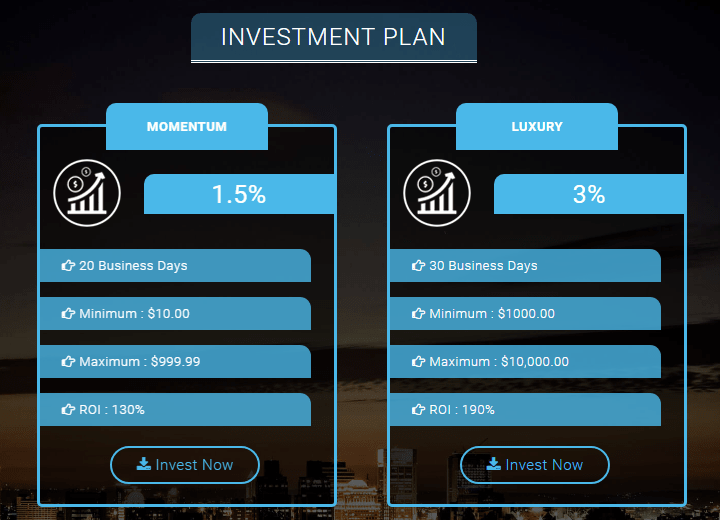 Investment plans of the project The Project9