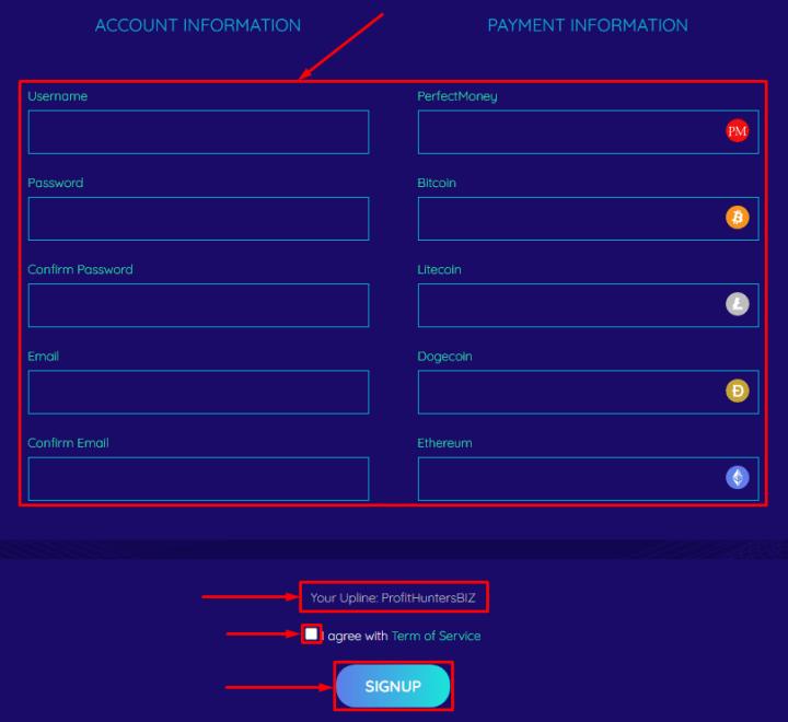 Регистрация в проекте Toptose