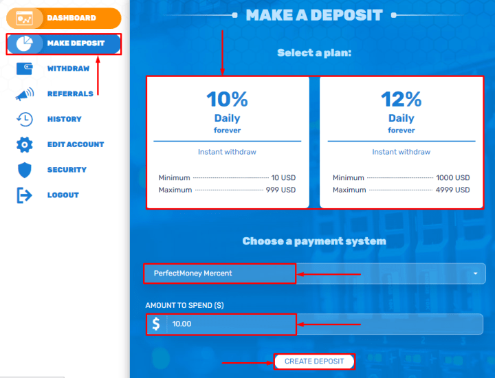 Creating a deposit in the Bit-Hunter project