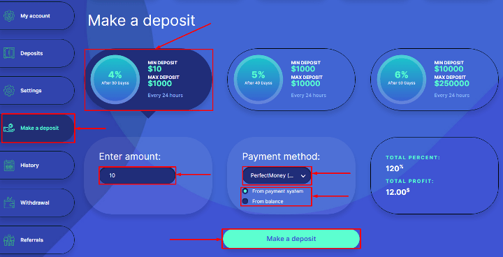 Creating a deposit in the Emerald-inv project