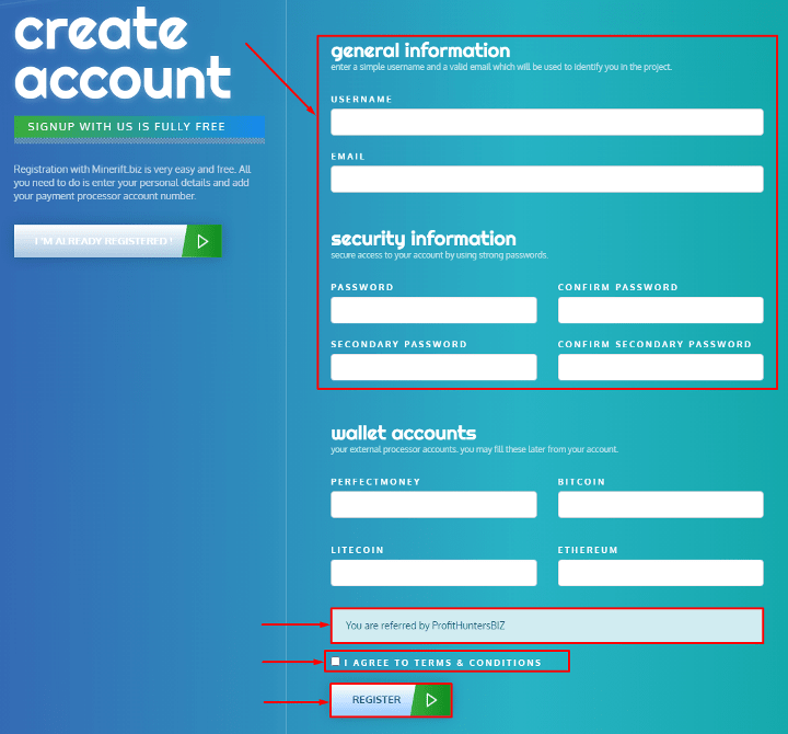 Регистрация в проекте Minerift