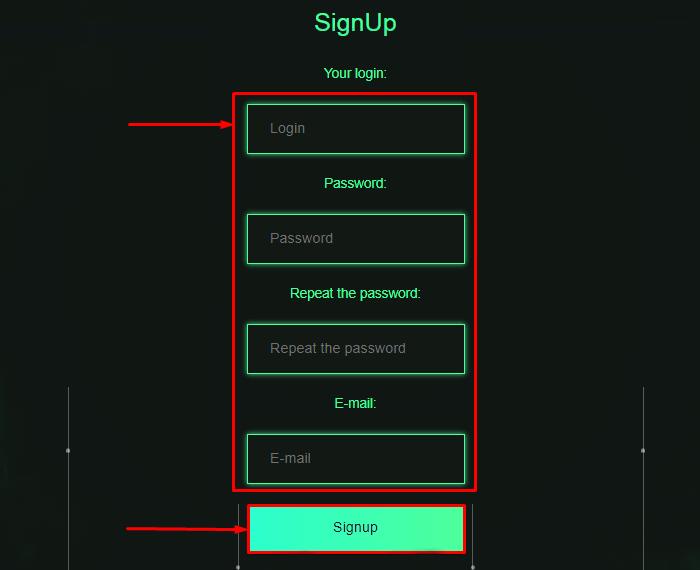 Регистрация в проекте Tescoin