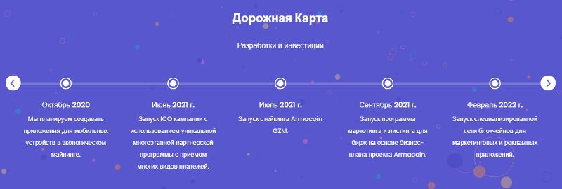 Дорожная карта проекта Armacoin
