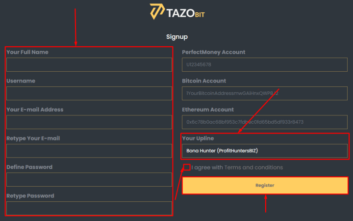 Registration in the Tazobit project