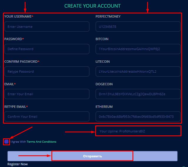 Регистрация в проекте TradeCoins