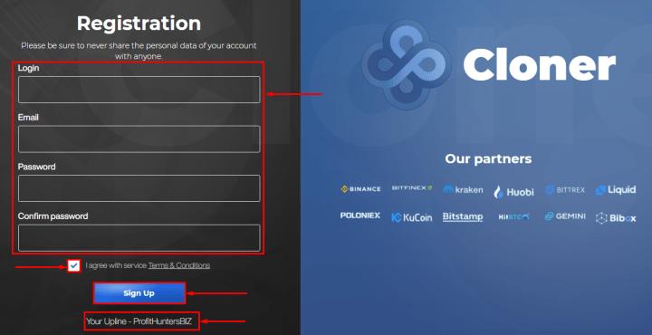 Регистрация в проекте Cloner