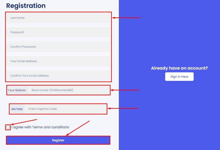 Регистрация в проекте Final Trade