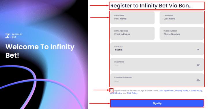 Rejestracja w projekcie InfinityBet