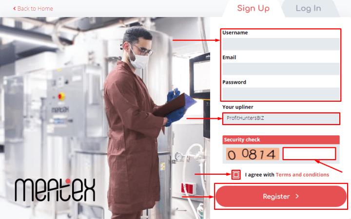 Rejestracja w projekcie Meatex