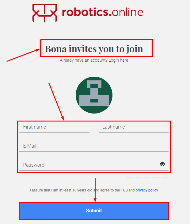 Registration in the Robotics project