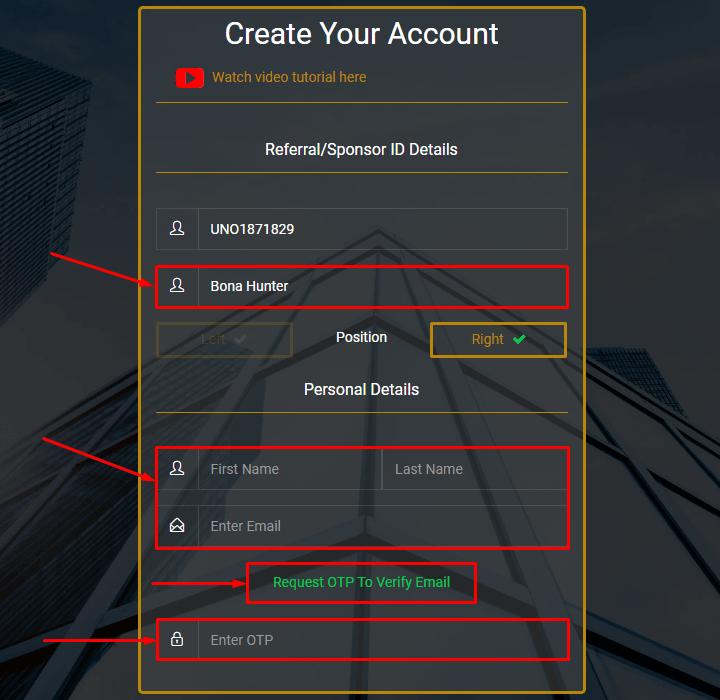 Регистрация в проекте Tradeunos