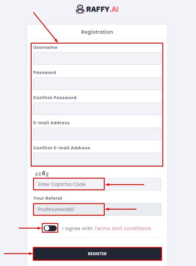 Регистрация в проекте Raffy